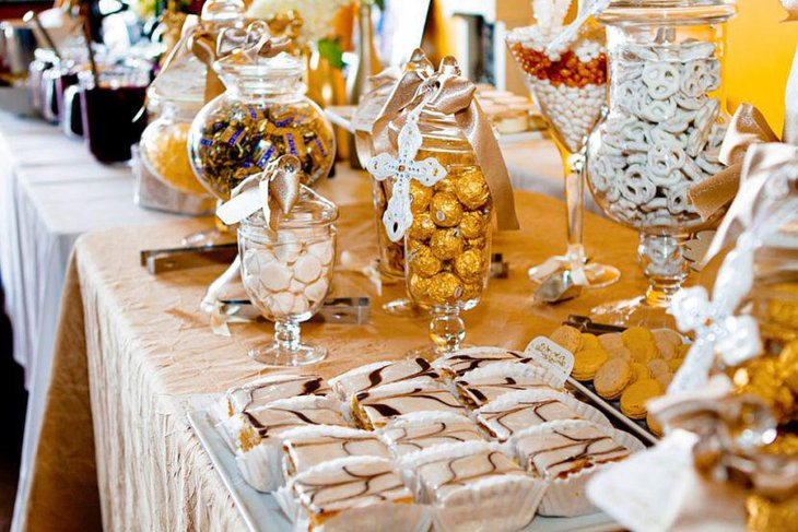 Stylishly decorated European themed dessert table