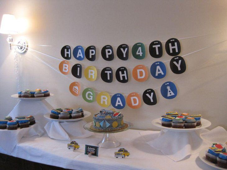 Subway themed boys birthday party dessert table