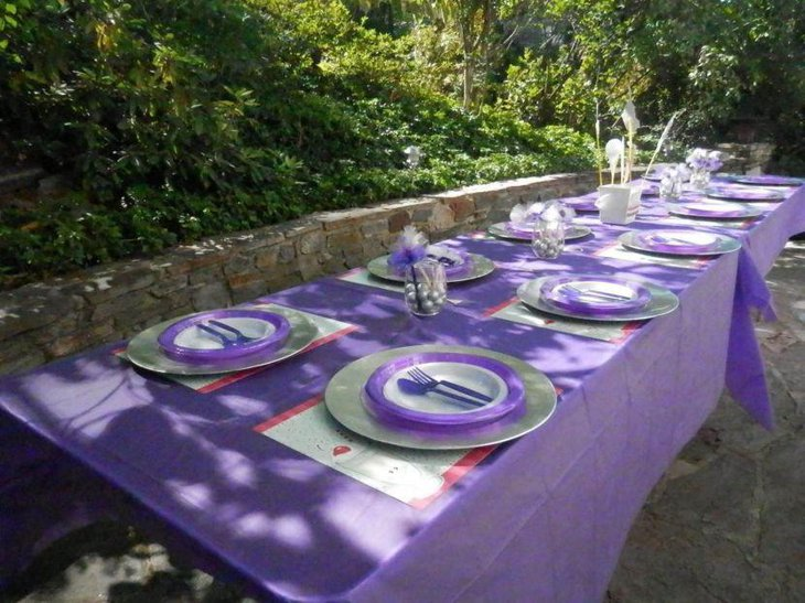 Sweet birthday tablescape with purple accented decor