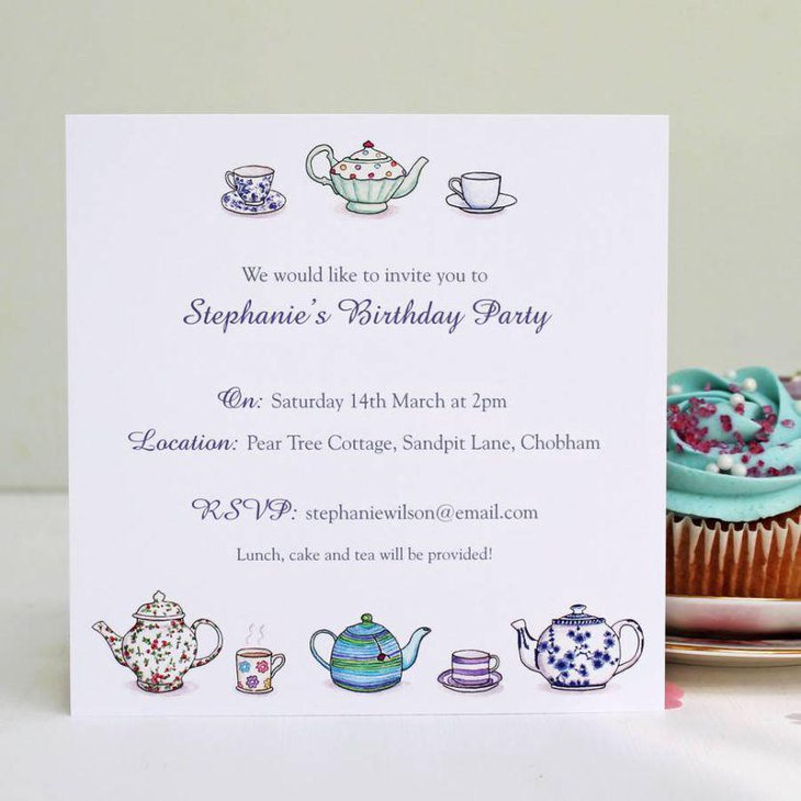 Sweet birthday tea party invitation