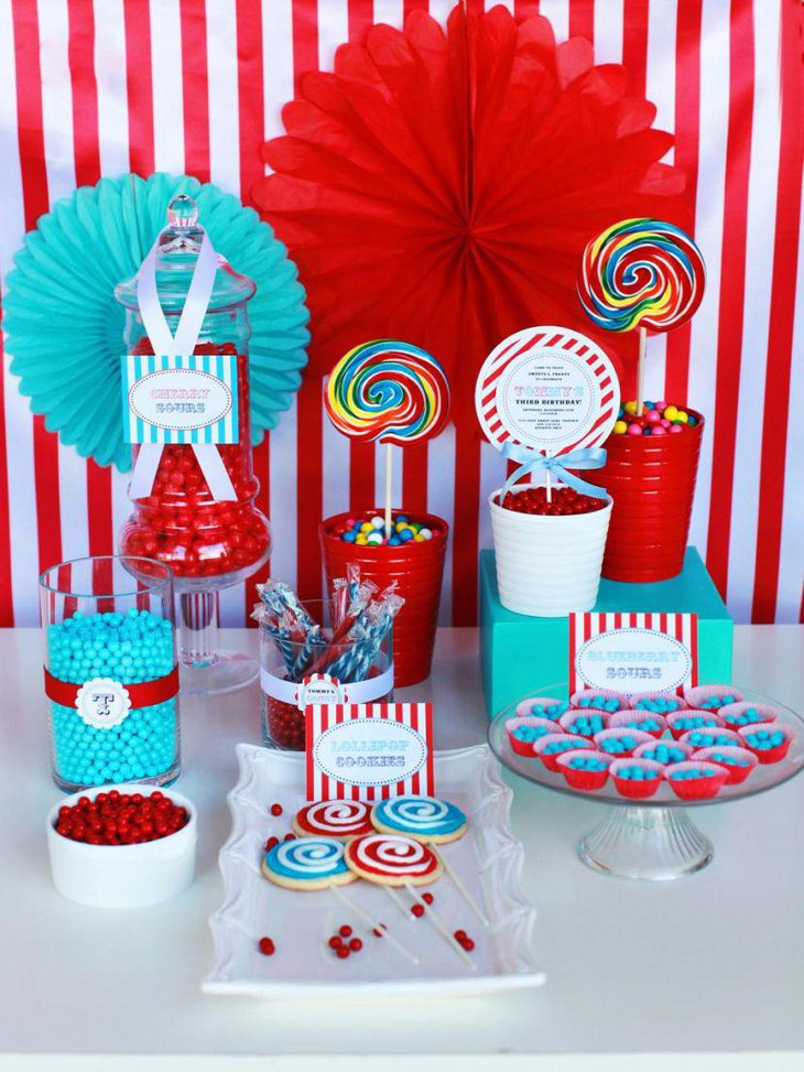 Sweet candy theme for a boys birthday table