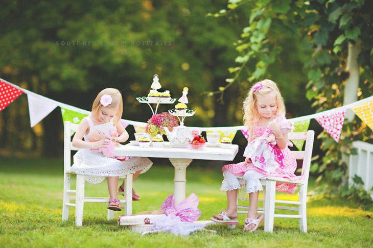 Sweet girls tea party idea in pretty pastels