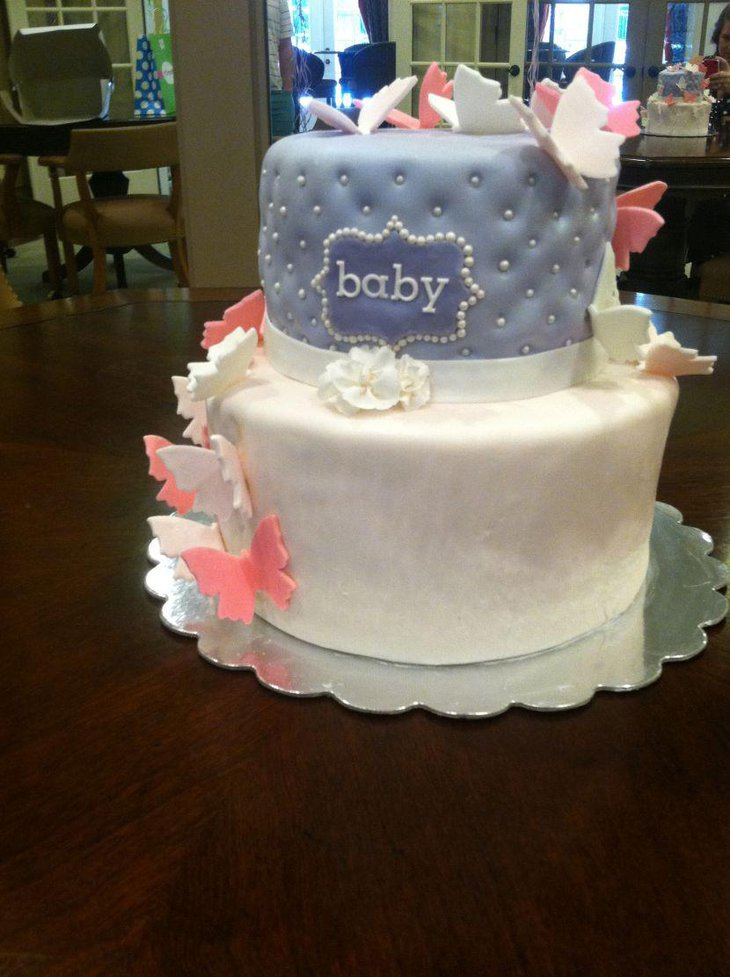 Sweet lavender and blush pink butterfly themed baby shower cake