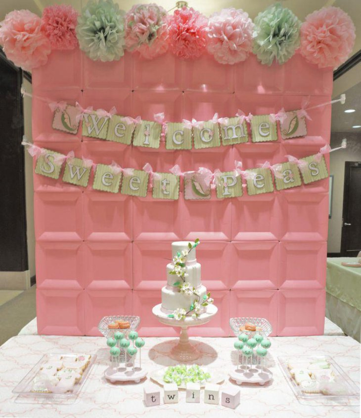 Sweet pea pod themed twin baby shower table