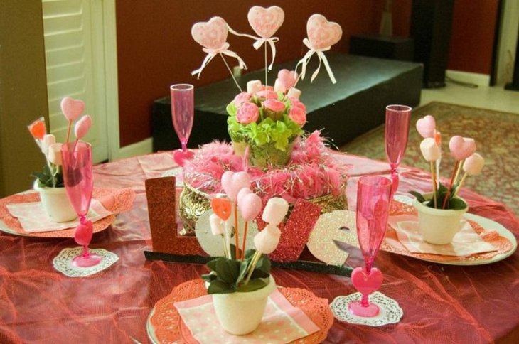 Sweet Pink Decoration For Valentine Table