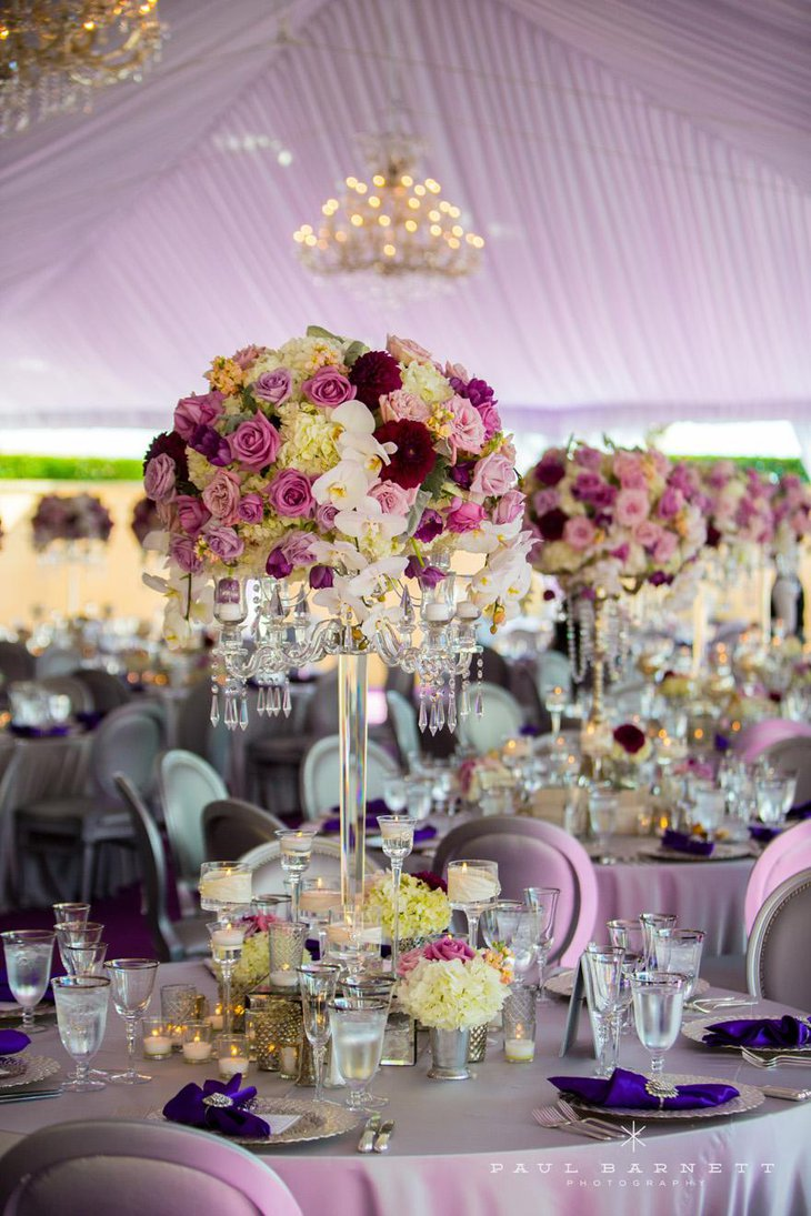 Tall Gorgeous Wedding Centerpiece with Crystals