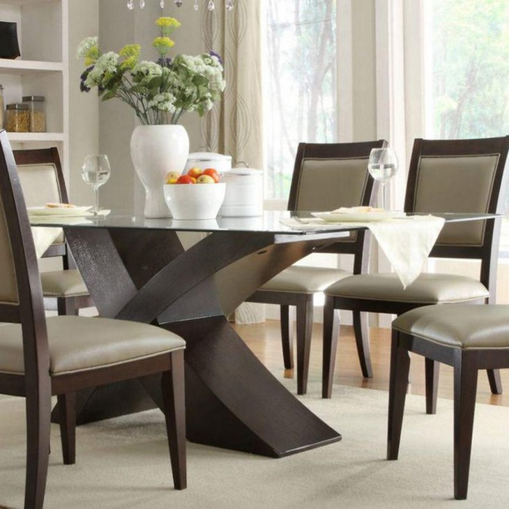 39 modern glass dining room table ideas table decorating ideas. Black Bedroom Furniture Sets. Home Design Ideas