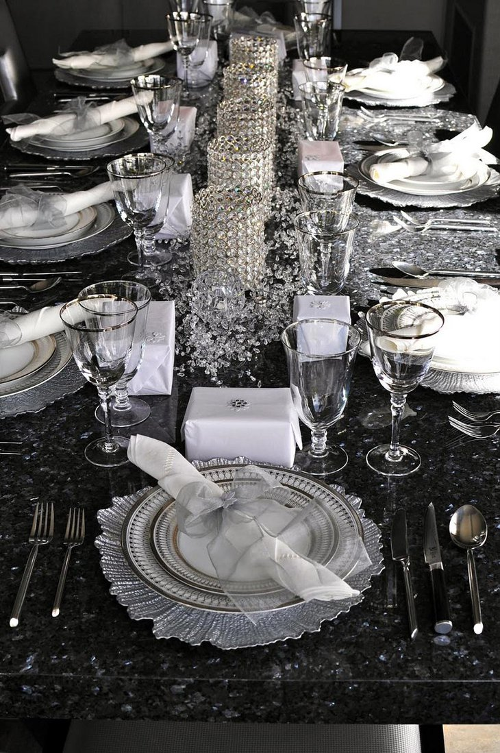 The Black and White New Years Eve Crystal Party Table Decoration