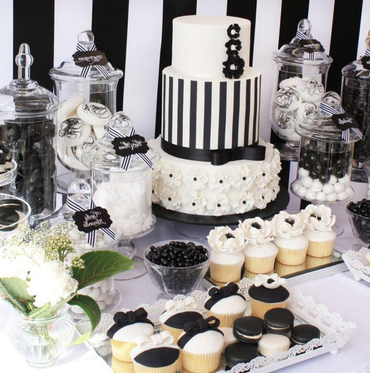 The Black and White New Years Eve Desert Party Table Decoration