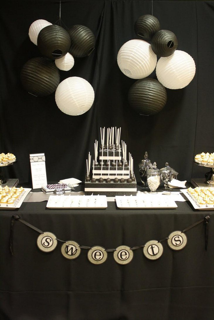 The Black and White New Years Eve Sweets Party Table Decoration