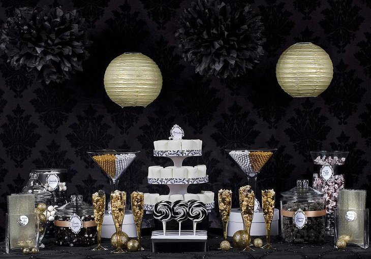 The Black White and Golden New Years Eve Candy Party Table Decoration