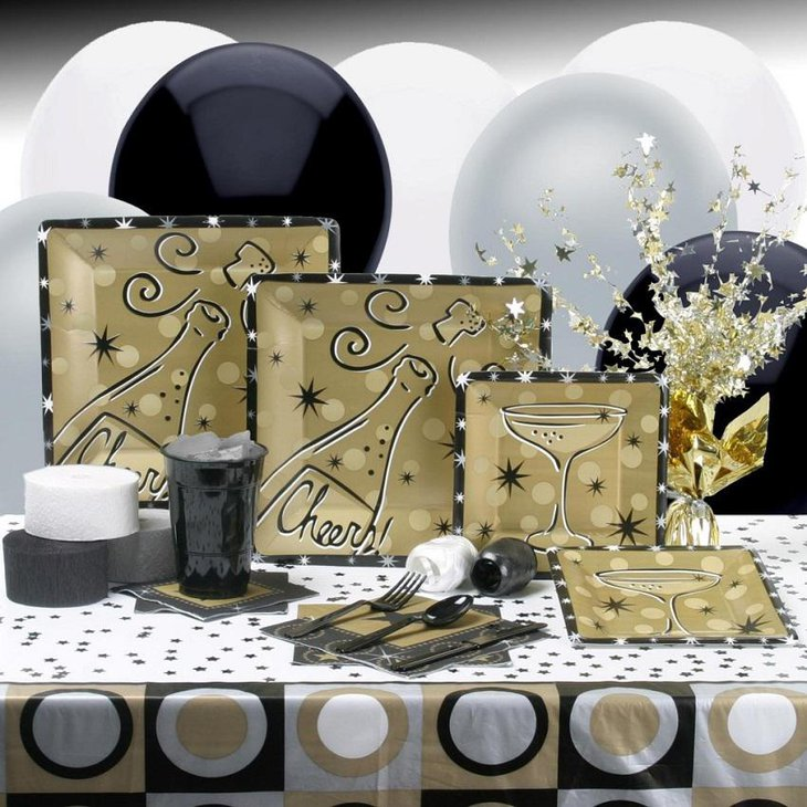 The Black White and Golden New Years Eve Cheers Party Table Decoration