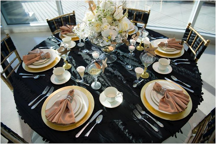 The Black White and Golden New Years Eve Classy Party Table Decoration