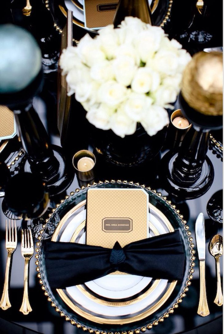 The Black White and Golden New Years Eve Formal Party Table Decoration