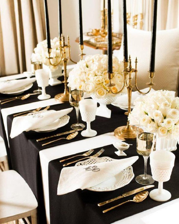 The Black White And Golden New Years Eve Gatsby Themed Party Table Decoration
