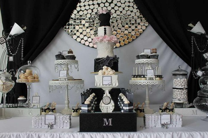 The Black White and Golden New Years Eve Lavish Party Table Decoration