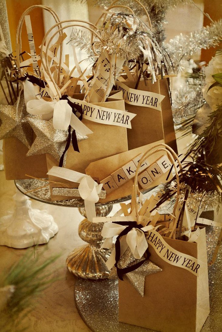 The Black White and Golden New Years Gift Party Table Decoration