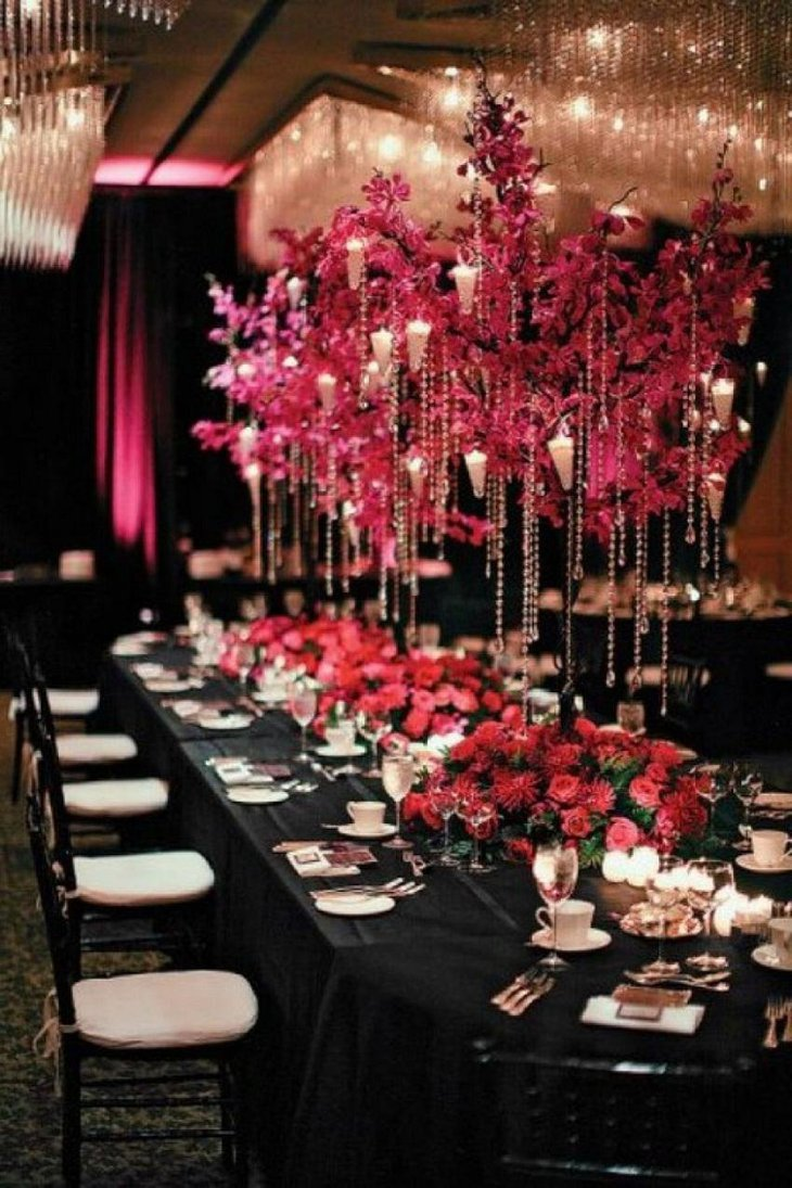 The Black White and Red New Years Eve Epic Party Table Decoration