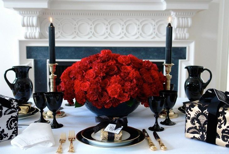 The Black White and Red New Years Eve Rosy Party Table Decoration