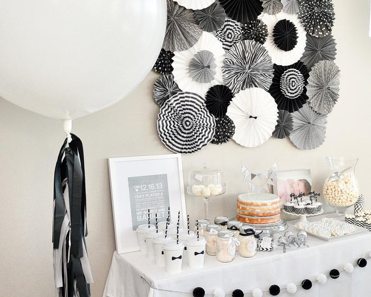 The Black White and Silver New Years Eve Exquisite Party Table Decoration