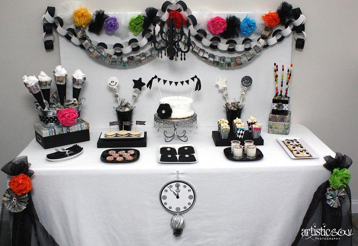 The Black White and Vibrant Multi Colored New Years Eve Party Table Decoration