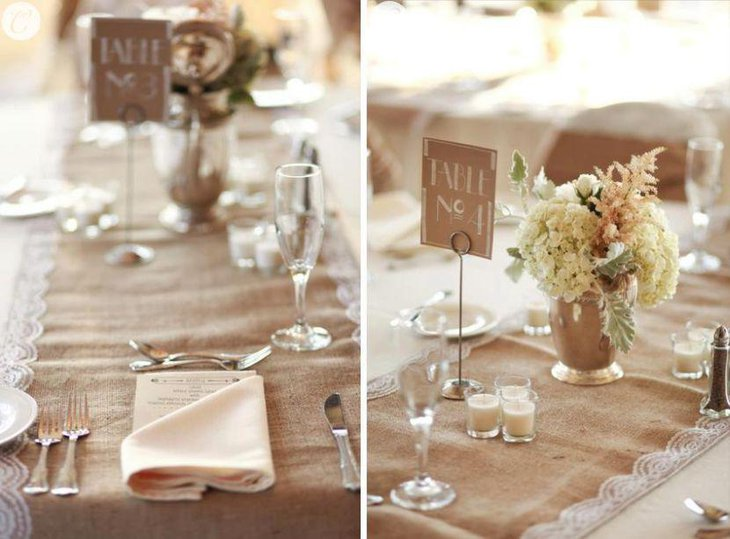 The flower decor compliments the use of burlap on this country wedding table