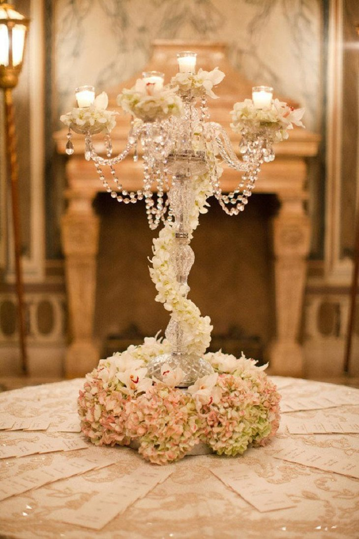 The Table Centerpiece for New Years Eve with Crystal and White Flower Tree