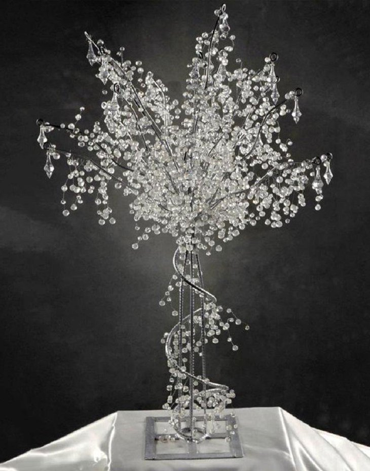 The Table Centerpiece for New Years Eve with Crystal Tree