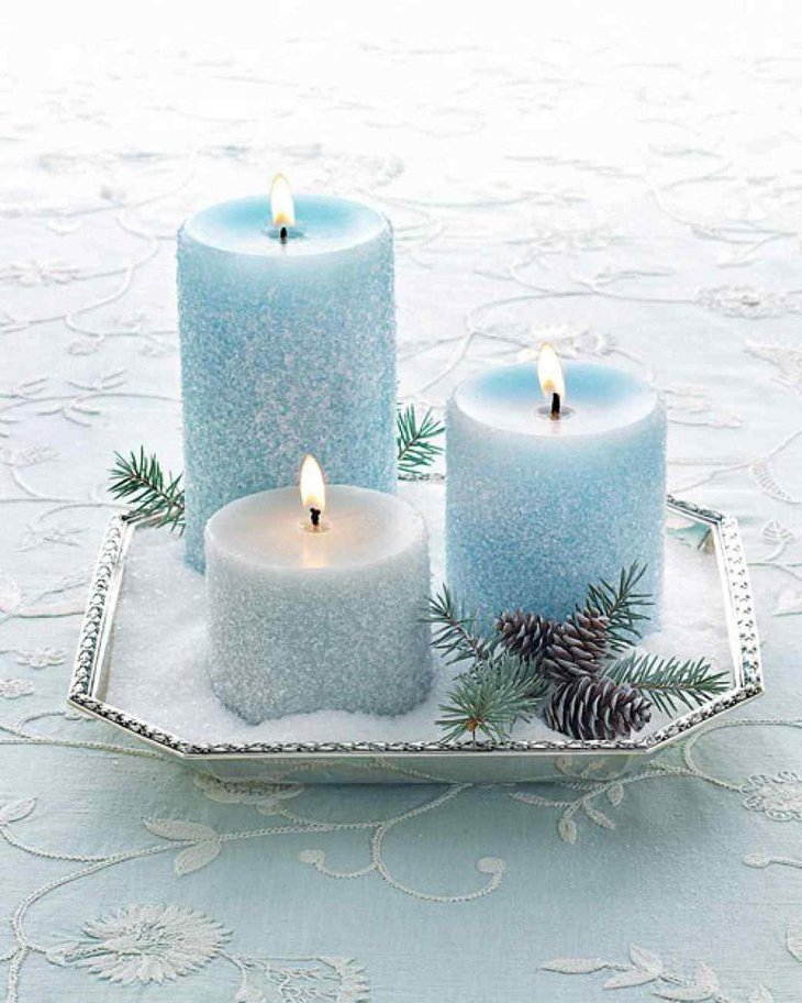 The Table Centerpiece for New Years Eve with Winter Blue Candles