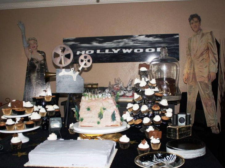 This DIY inspired Hollywood themed party table looks stunning