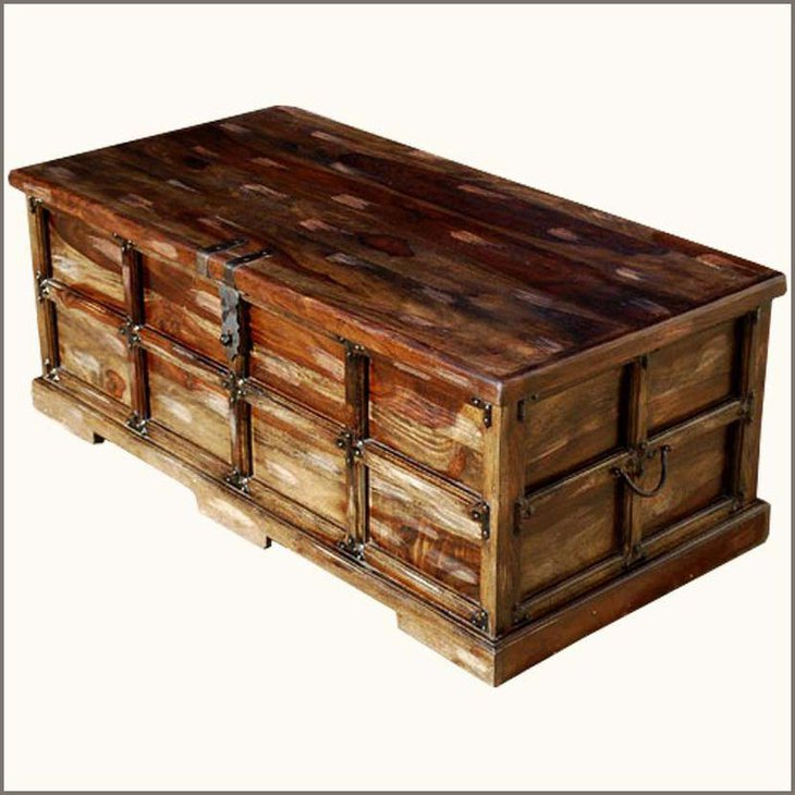 This rustic trunk coffee table looks classy