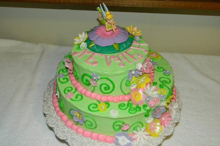 Tinker Bell Themed Baby Shower Cake For A Girl