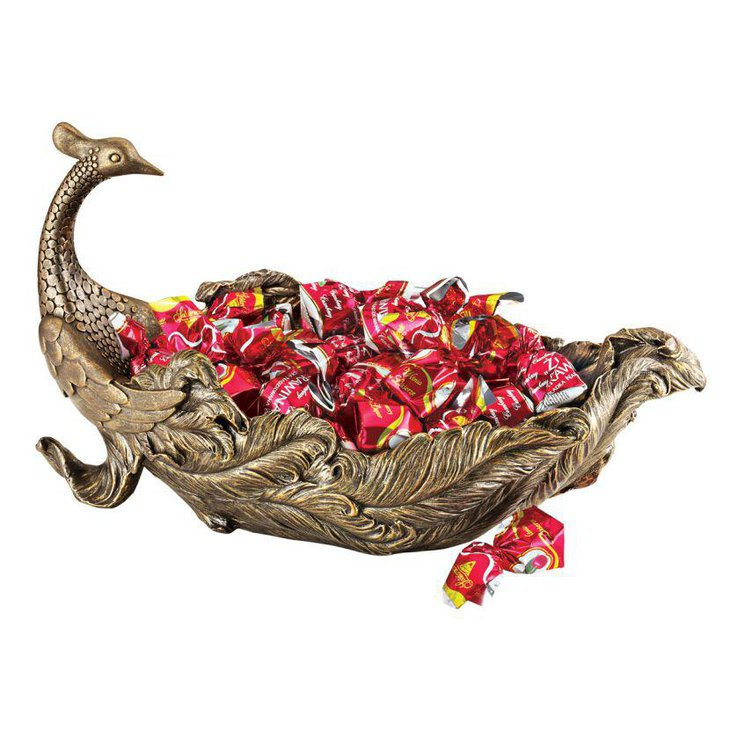Toscano peacock decorative bowl centerpiece