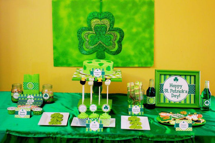 Traditional green theme setup for St Patricks Day food table