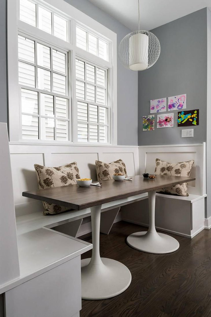 Transitional Gray Breakfast Nook With Banquette Seating