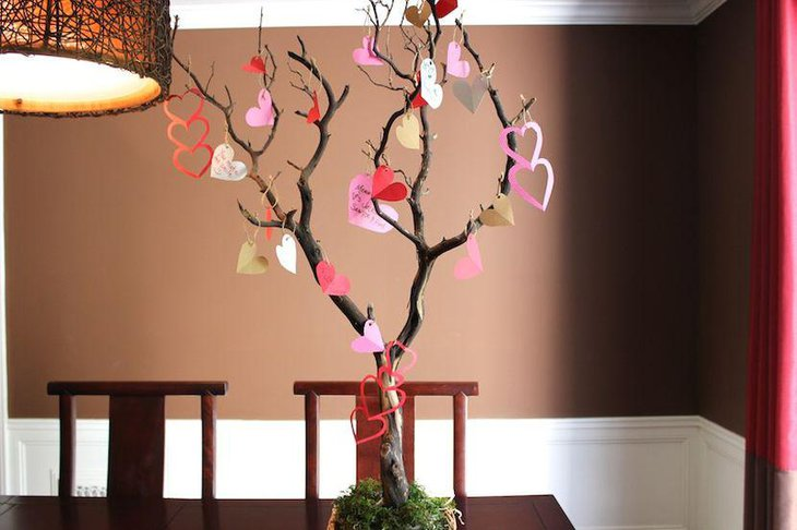 Tree Valentine centerpiece idea with paper hearts