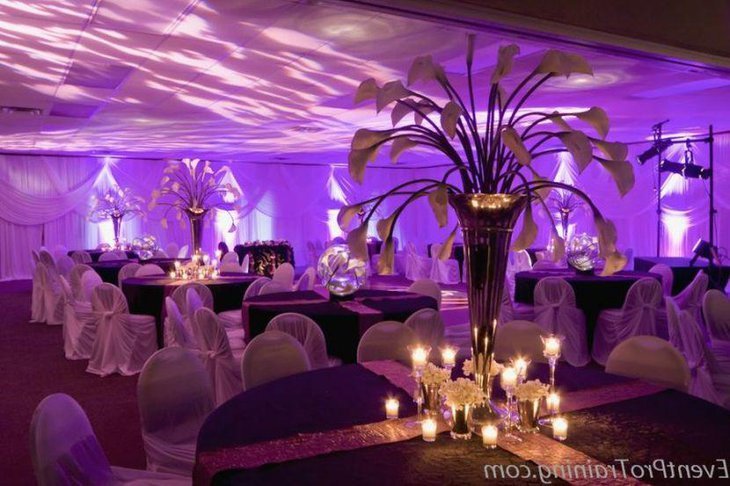Trendy purple winter wedding reception table