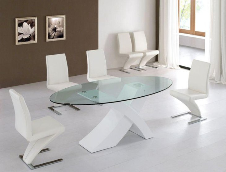 Trendy Tempered Oval Glass Dining Table Set With White Chairs