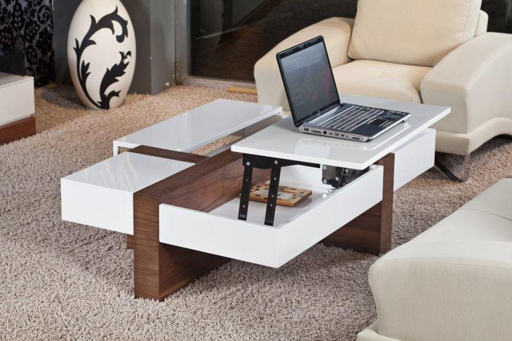 Trendy White And Square Lift Top Coffee Table