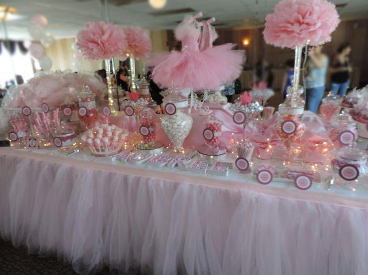 Tutu themed baby shower candy table in pink and white