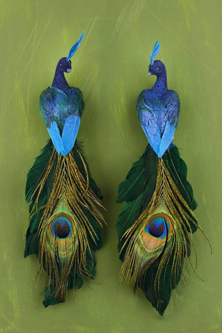 Two feathered peacock centerpieces
