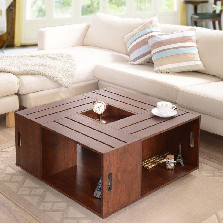 Ultra modular coffee table with storage space