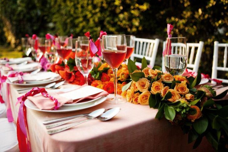 Unique colourful outdoor wedding table decor