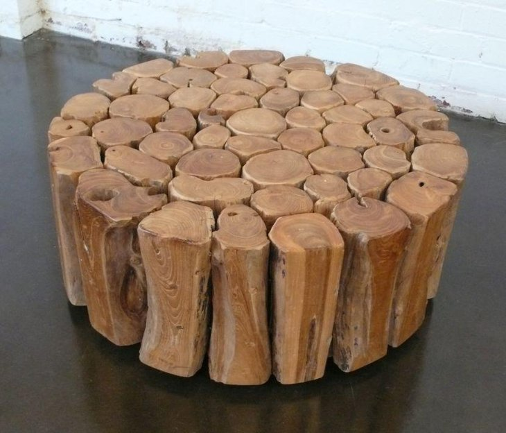Unique Round Wooden Log Coffee Table