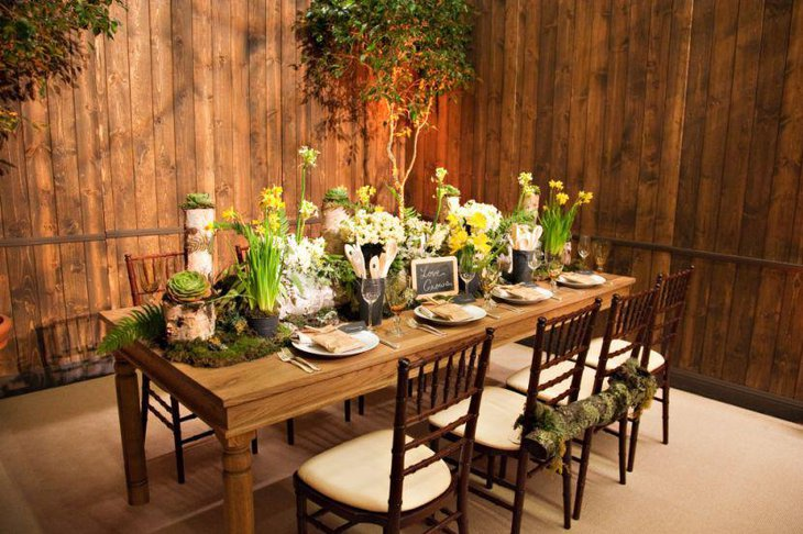 Unique Spring outdoor wedding table setup