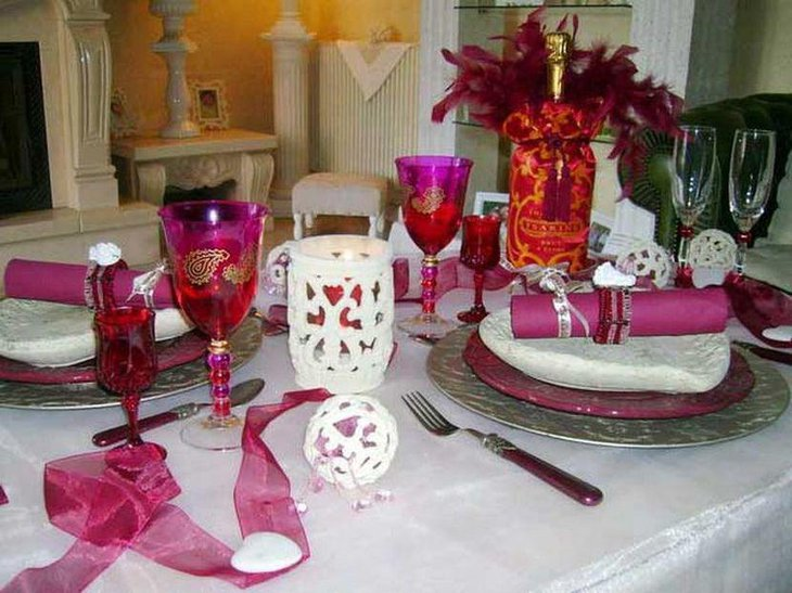 Valentines table decor with white ornamental pieces
