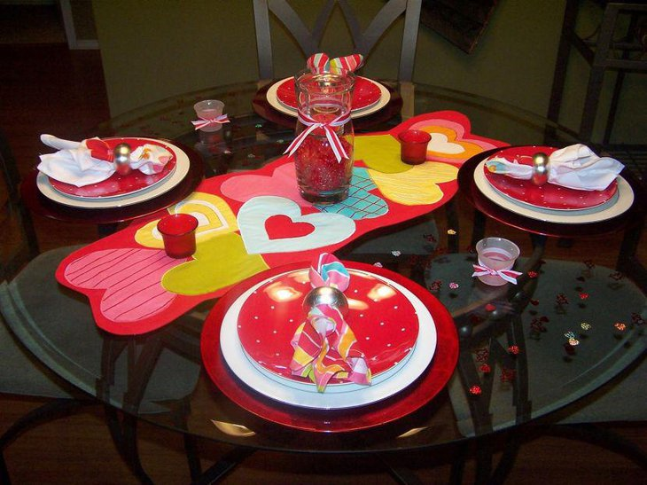 Valentines table setting with cute heart imprinted table runner