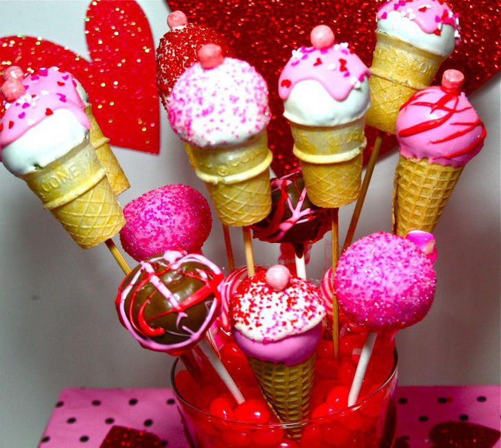 Valentines tablescape with candy and icecream pops bouquet