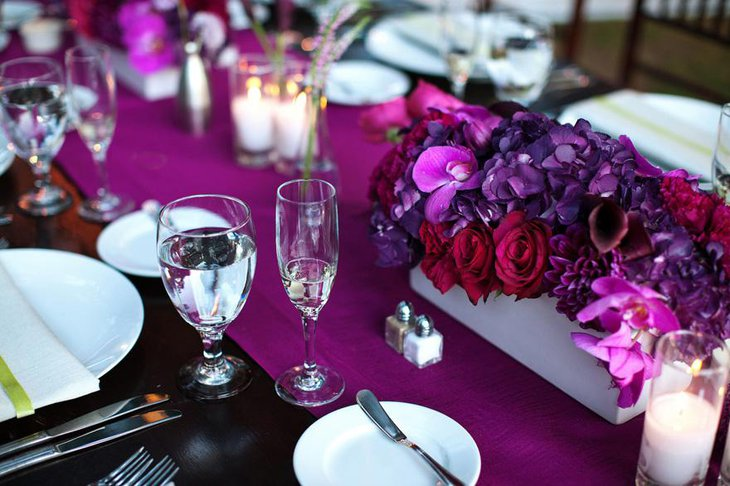 Vibrant Purple Flower Centerpiece for Weddings