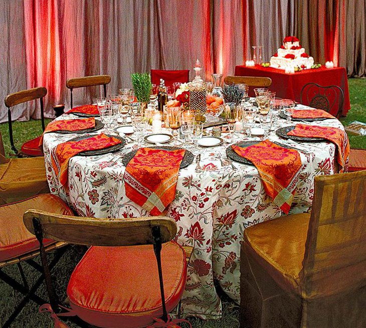 Vibrant White and Orange Printed Table Linen